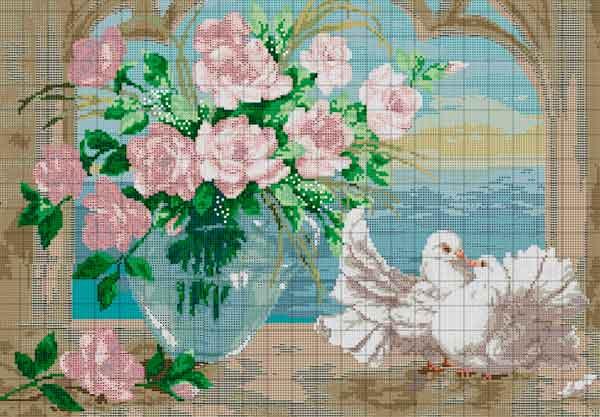 Вишивка «Голуби з квітами»