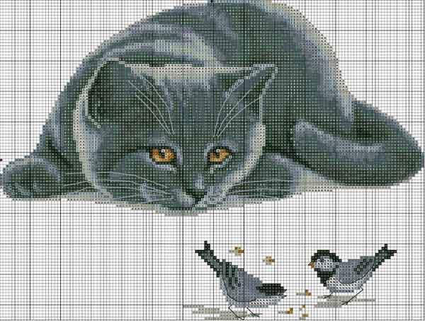 Кіт з горобцями