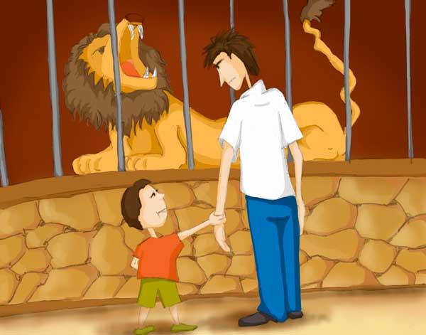 лев в зоопарку