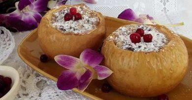 Печені яблука зі згущеним молоком