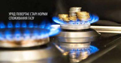 старі норми споживання газу