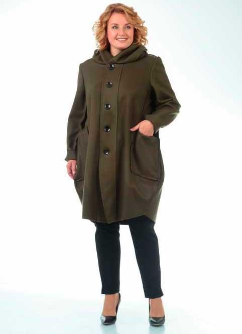 Пальто вільного, прямого крою для повних пані