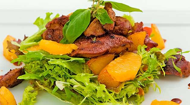 Салат із печінкою й апельсином