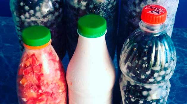 Заморожуємо ягоди у пластикових пляшках