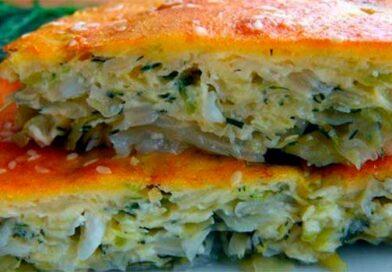 Заливний капустяний пиріг на кефірі